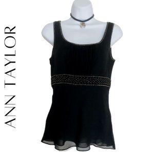 ANN TAYLOR Black Silk Chiffon Babydoll Top, 0, NWT
